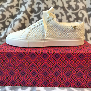 Marion Quilted Lace-Up Sneaker Ivory